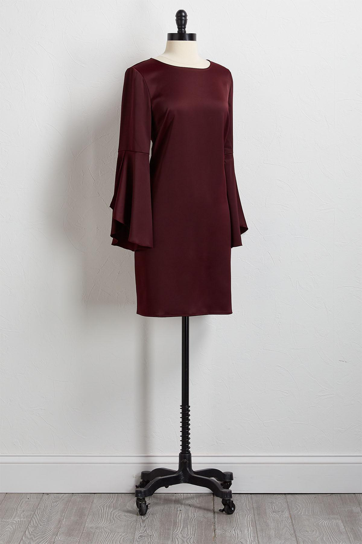 Wine Bell Sleeve Shift Dress