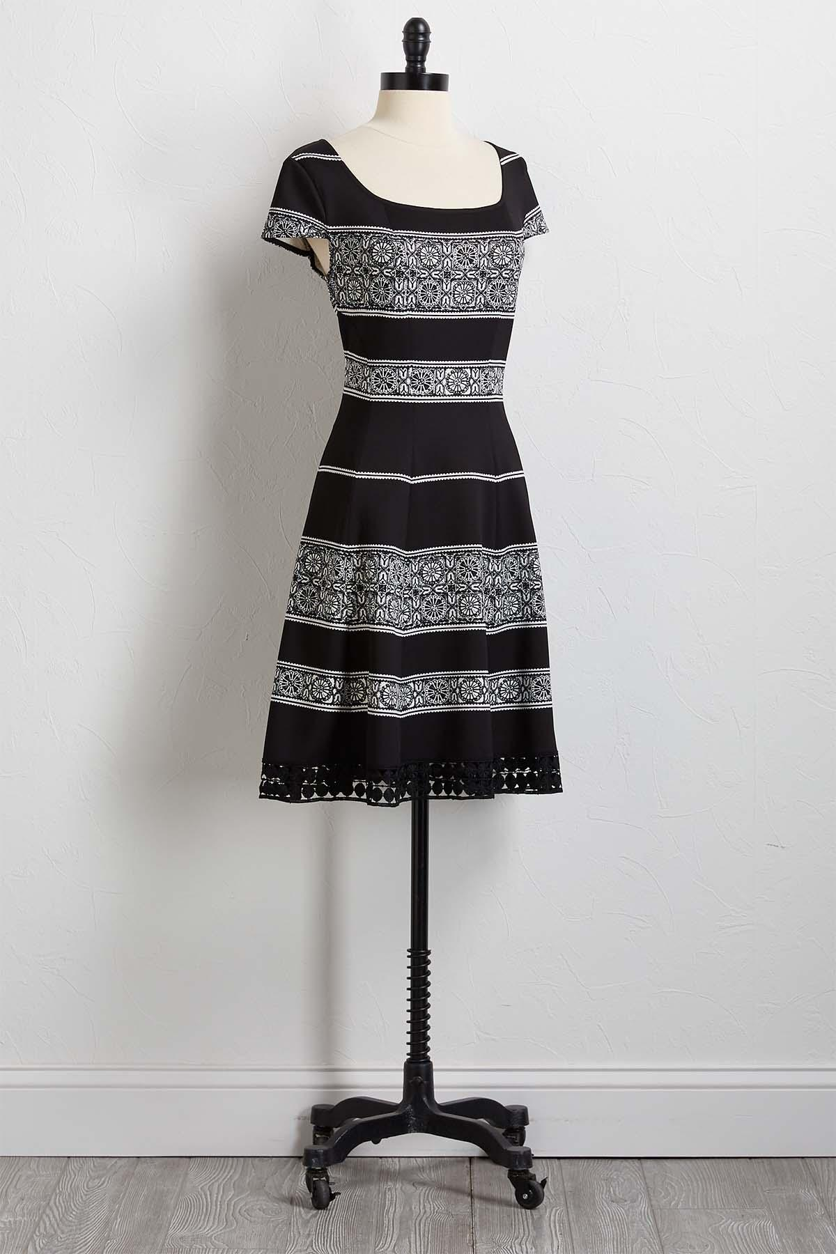Black And White Fit And Flare Dress