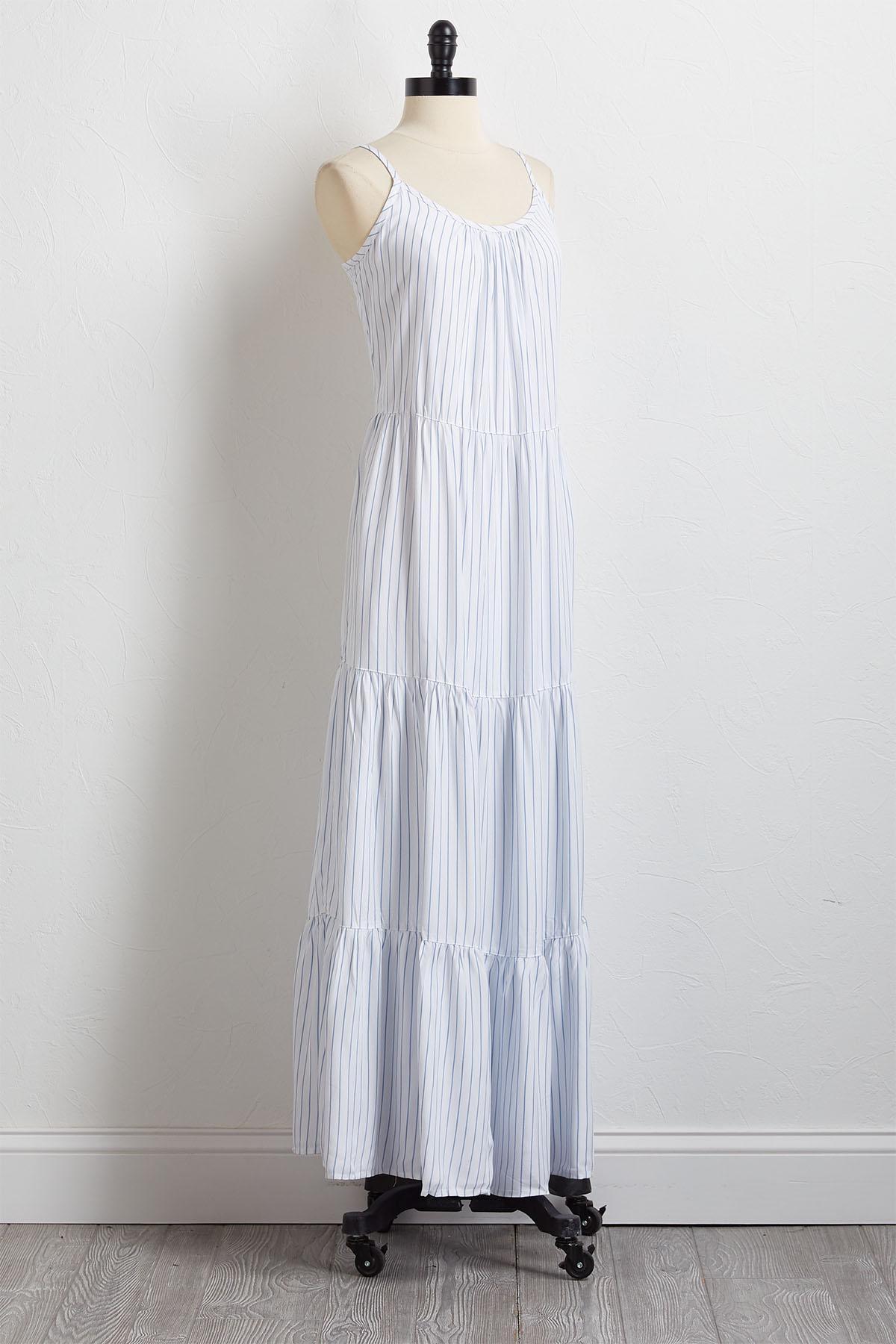 Stripe Tiered Maxi Dress