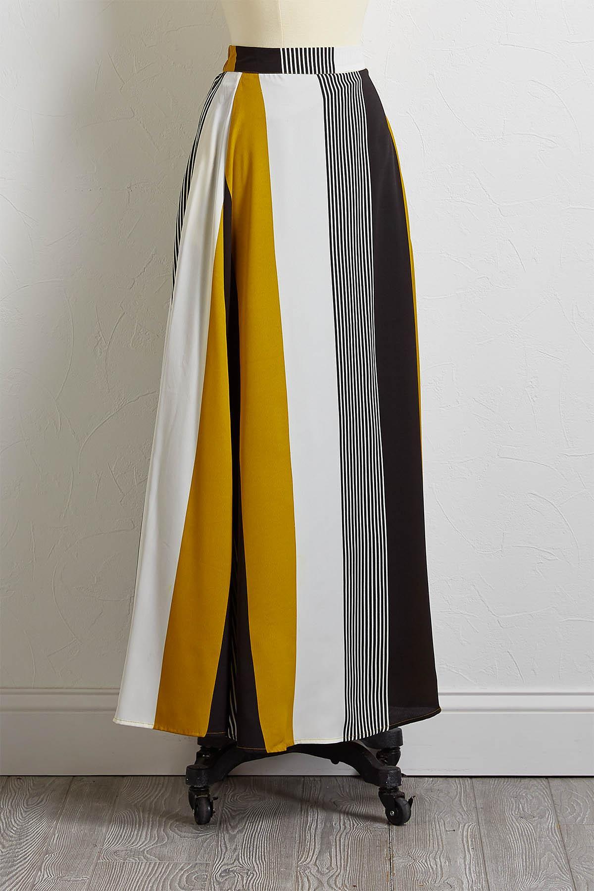 Gold Stripe Maxi Skirt