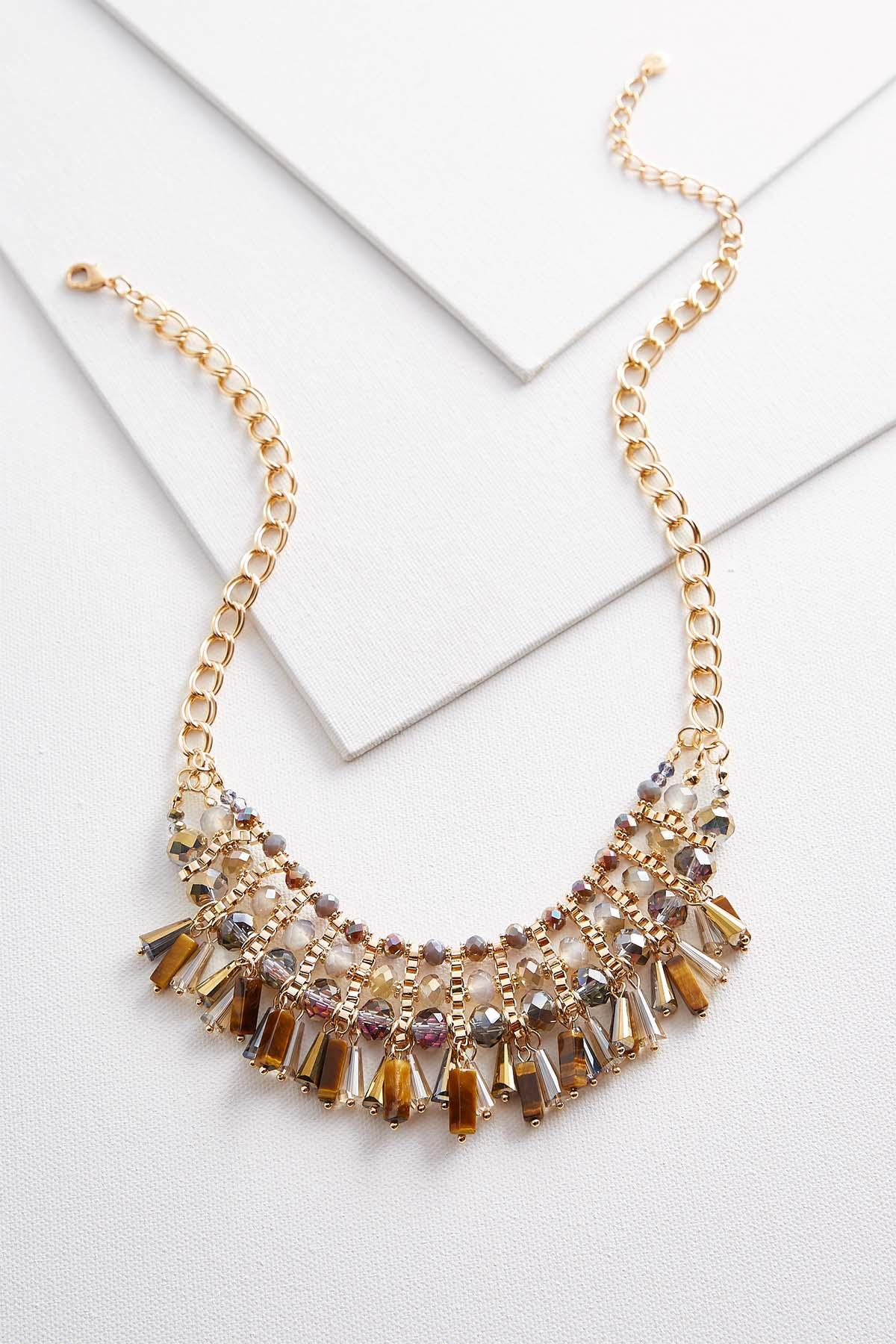 Semi- Precious Beaded Bib Necklace