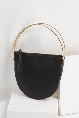 circular metal handle handbag