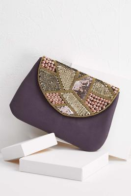jeweled faux suede crossbody bag
