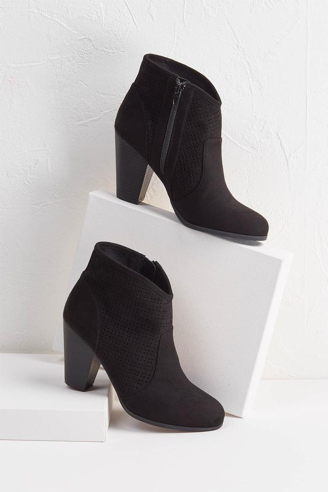 Perforated Faux Suede Booties