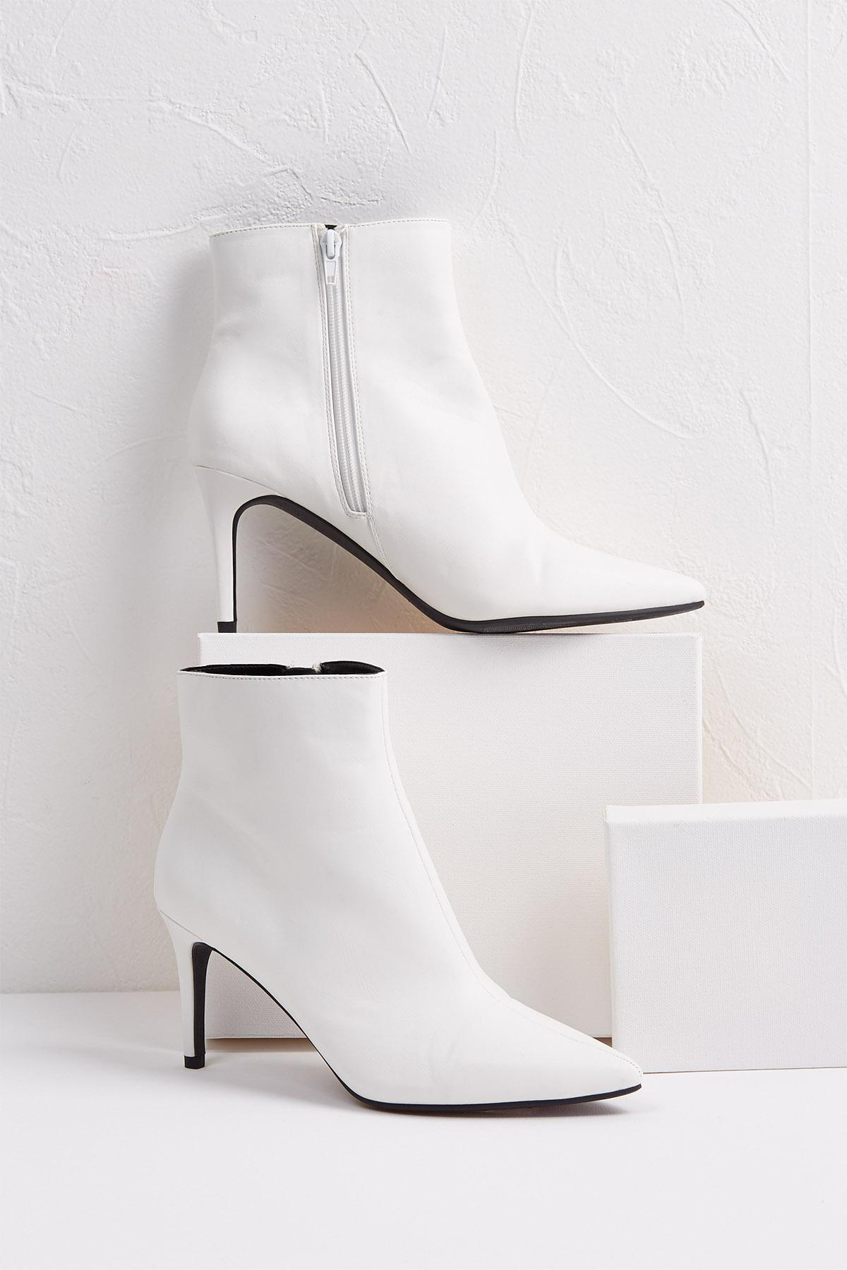 White Heeled Booties