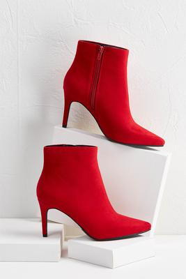 red heeled booties