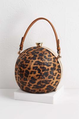 ball shaped leopard handbag