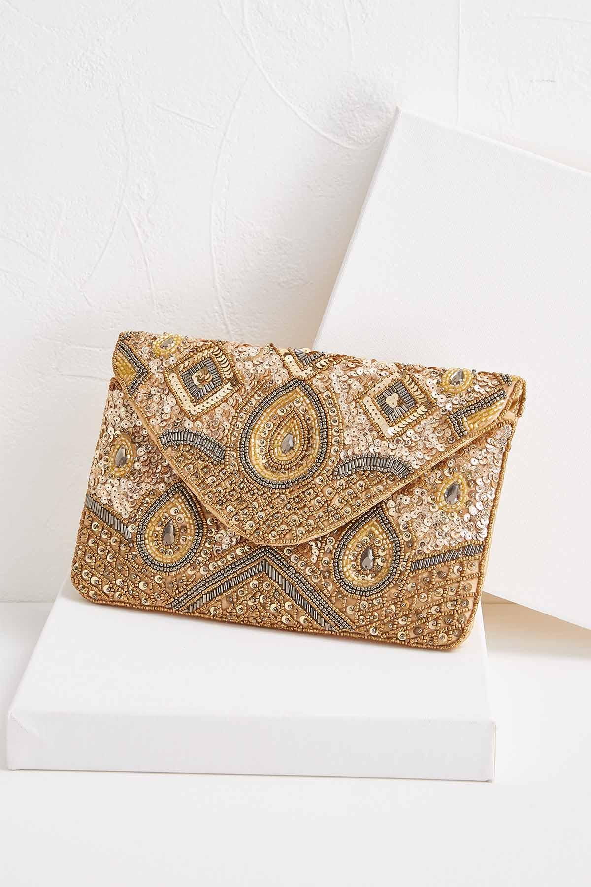 Embellished Gold Metallic Clutch