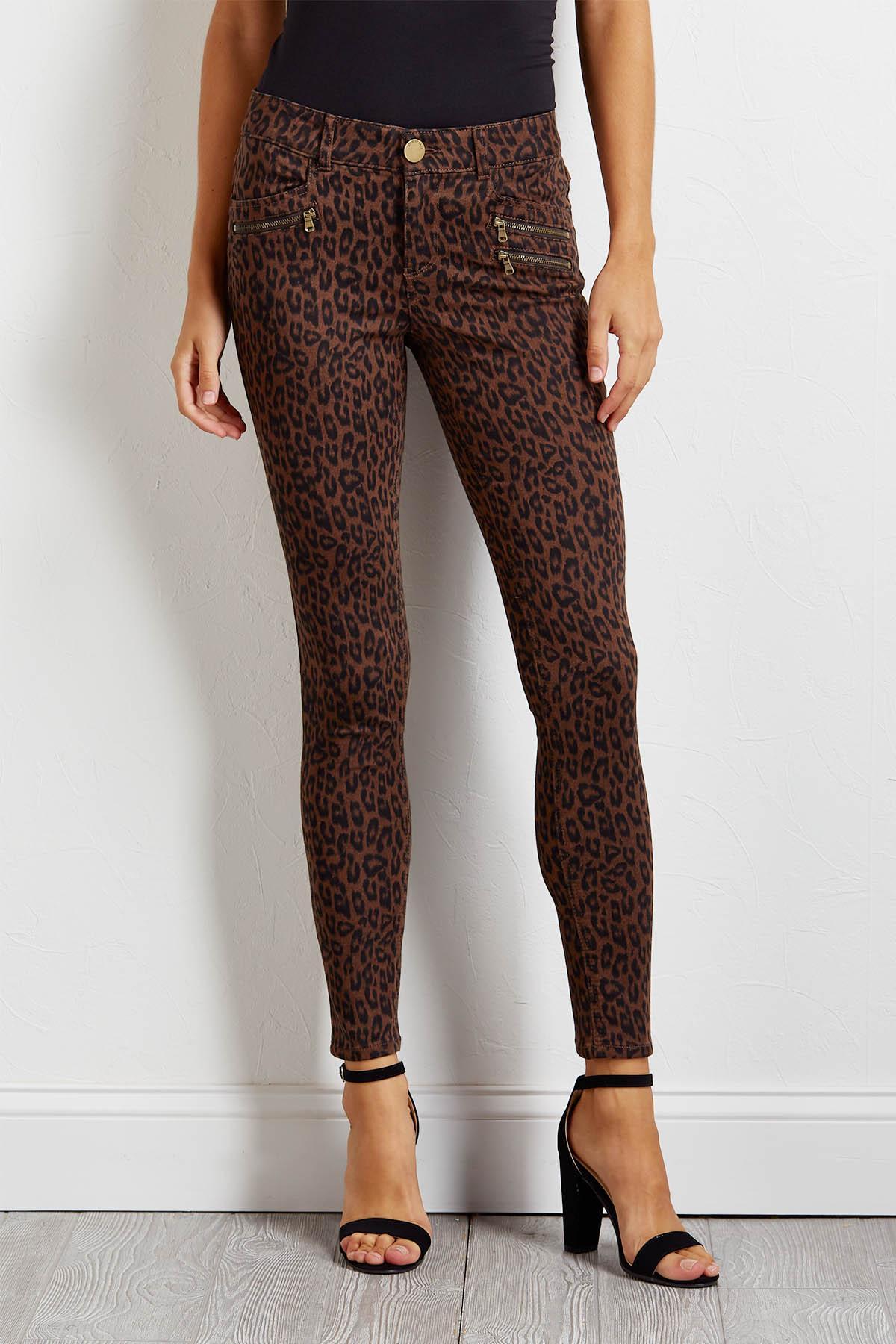 Animal Print Woven Pants