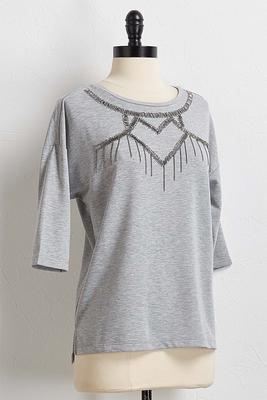 beaded metal fringe tee