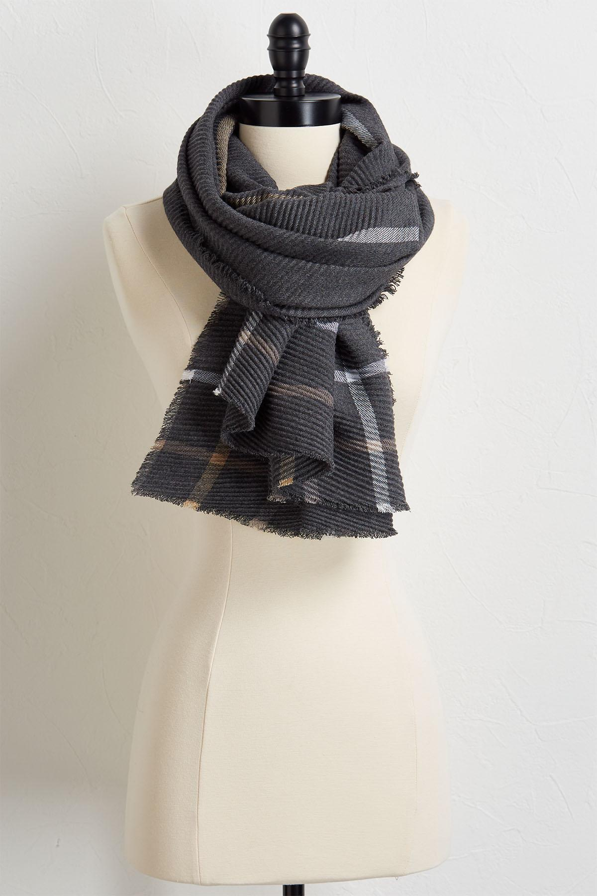 Micro Pleated Fringe Scarf