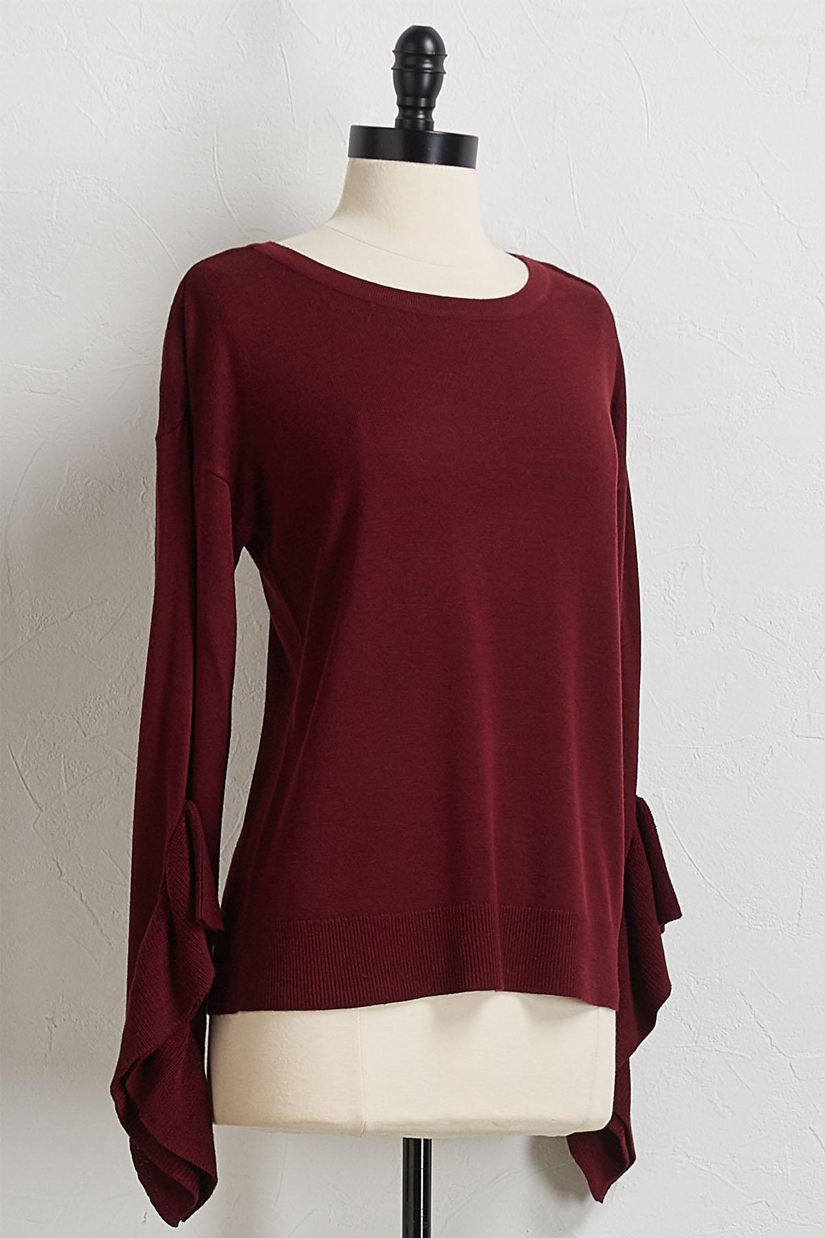 Cascade Ruffle Sleeve Sweater