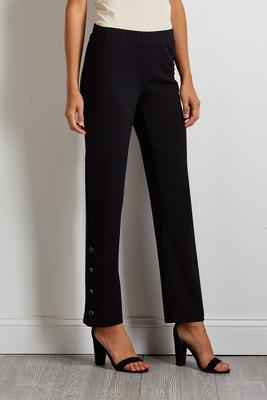 faceted snap ankle pants
