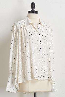 dotted button sleeve top