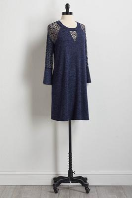 hacci lace sleeve shift dress