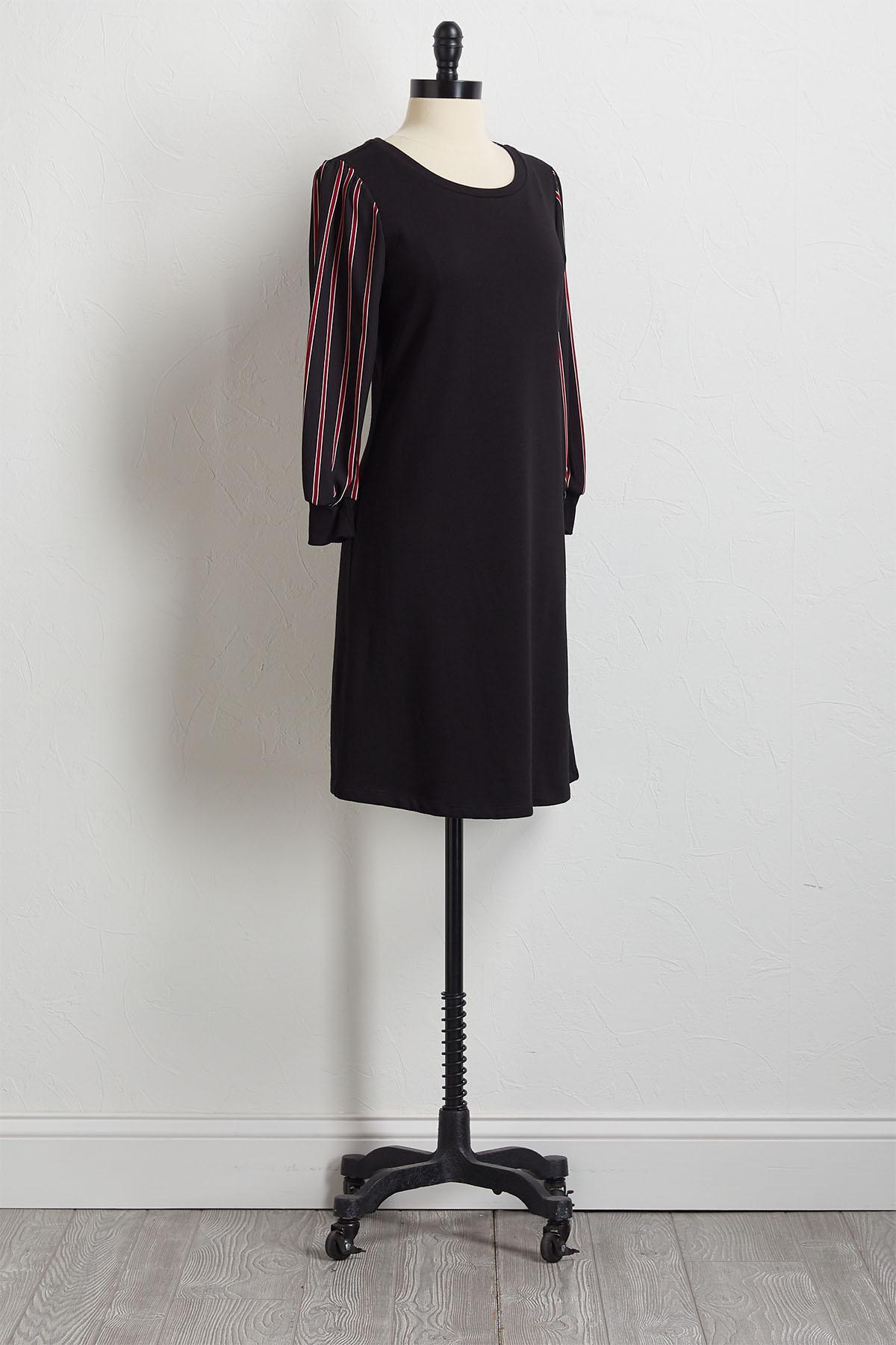Striped Sleeve Shift Dress