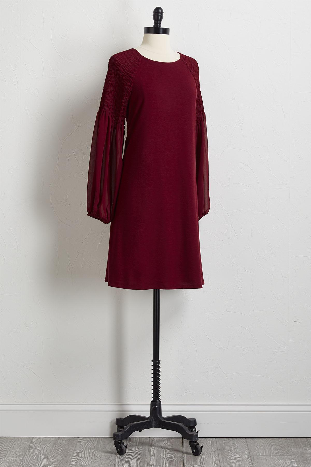 Smocked Chiffon Sleeve Shift Dress