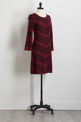 mitered stripe sweater dress