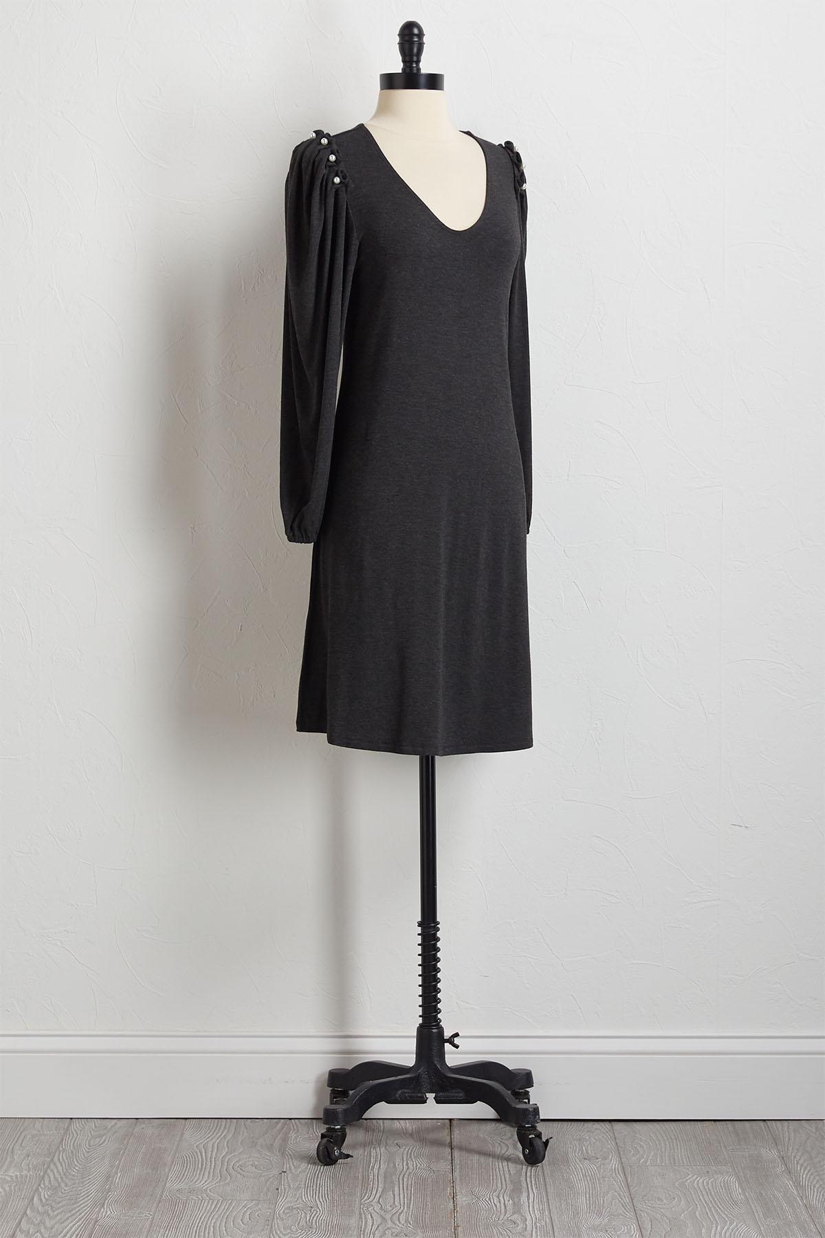 Pearl Shoulder Shift Dress