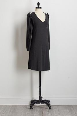 pearl shoulder shift dress