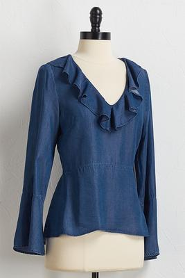 ruffled chambray peplum top