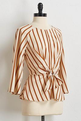natural stripe tie front top