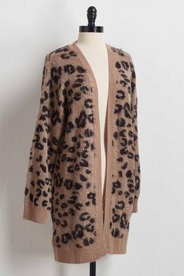 leopard print duster sweater