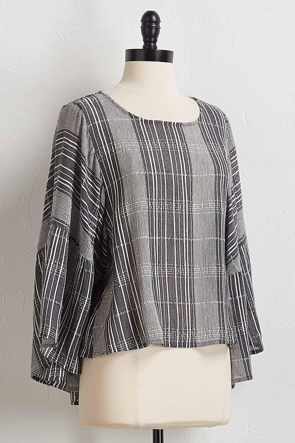 Textured Plaid Bell Sleeve Top
