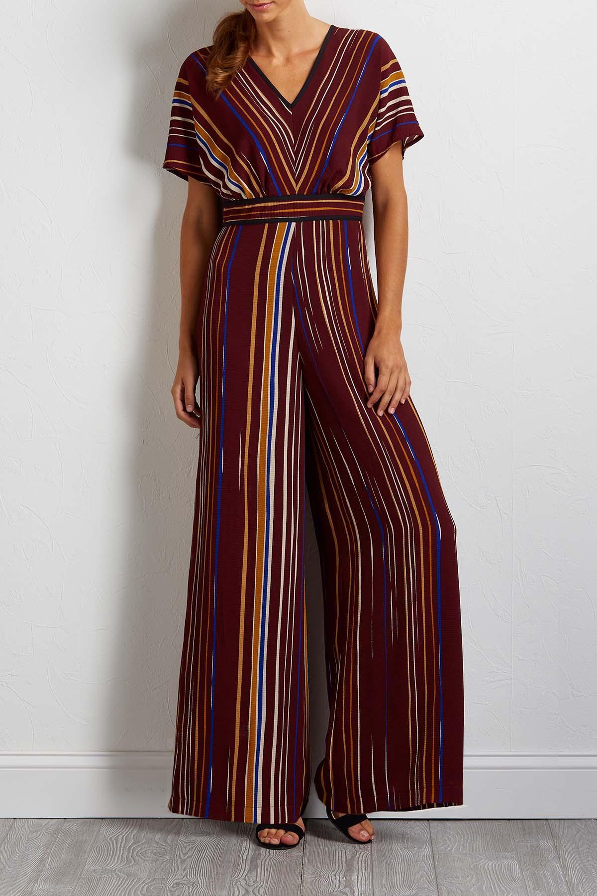 Autumn Stripe Crepe Jumpsuit