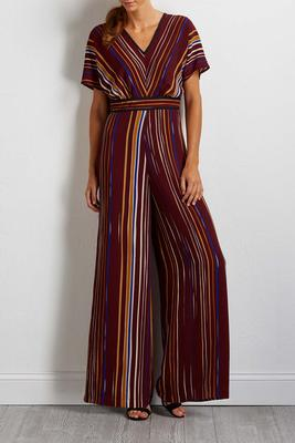 autumn stripe crepe jumpsuit