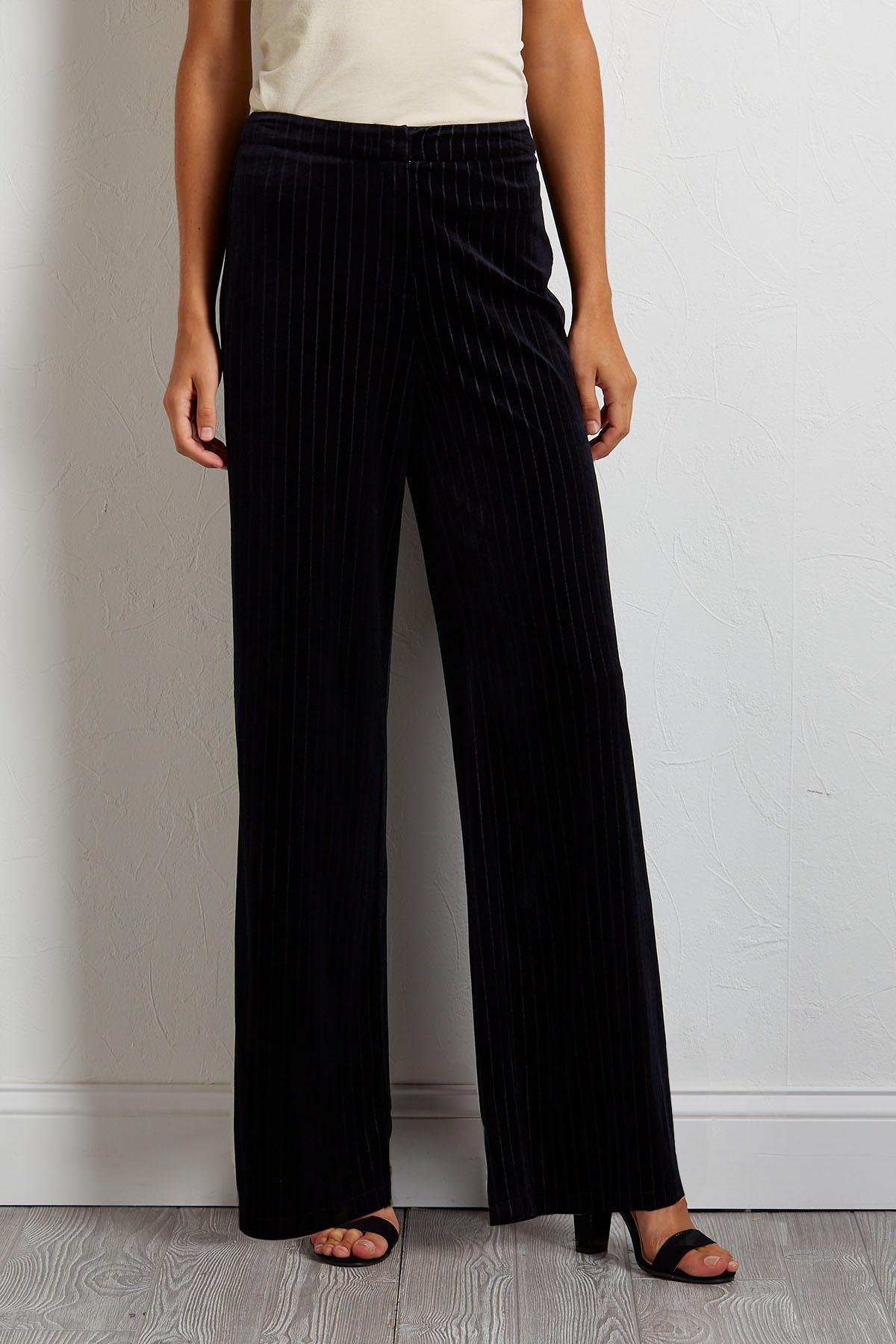 Velvet Pin Stripe Pants