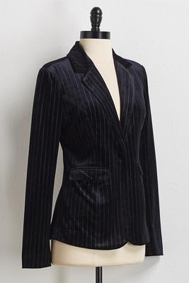 velvet pin stripe blazer