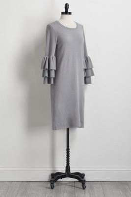ruffled sleeve sweater dress