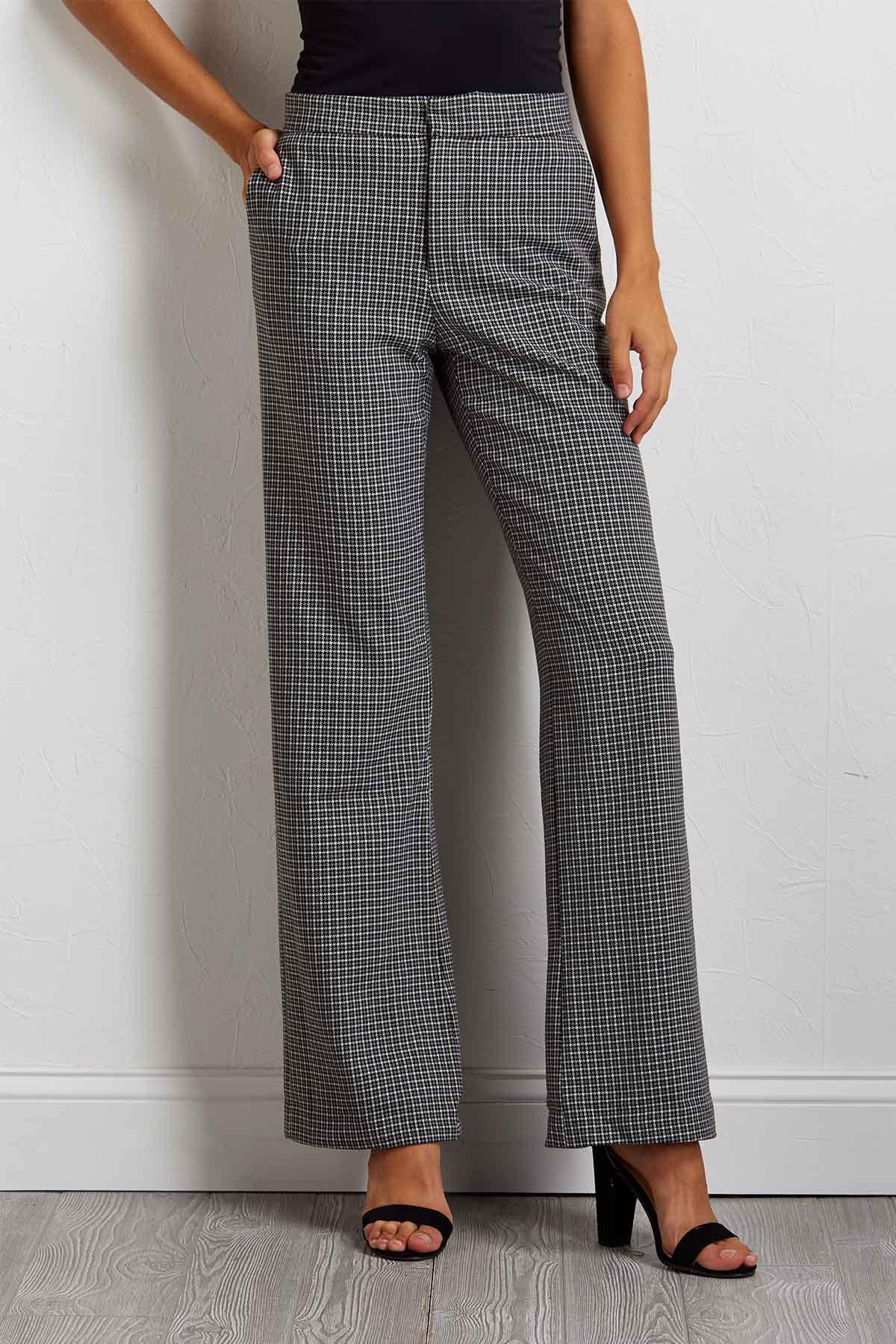 Plaid Houndstooth Trouser Pants