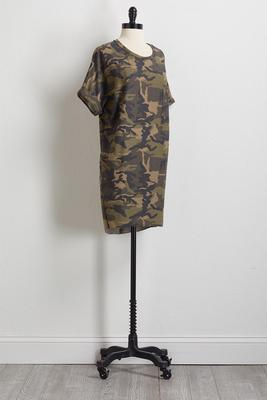camo cuff sleeve dress