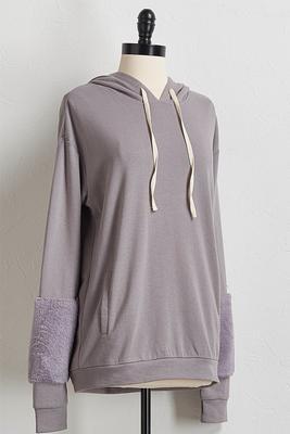 fur sleeve hoodie