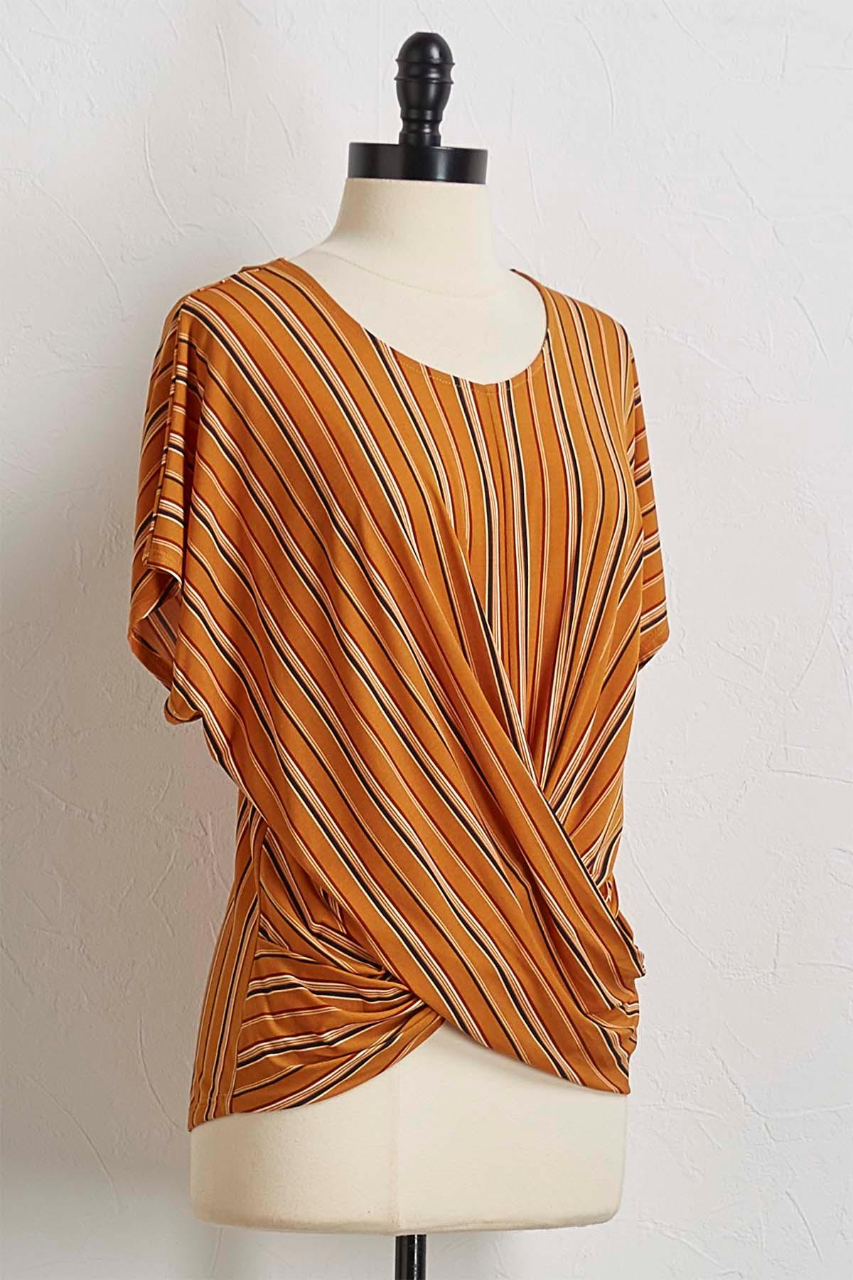 Golden Striped Knotted Front Top