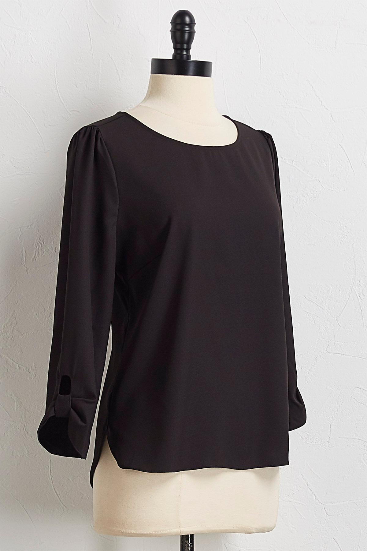 Tab Sleeve Pullover Top