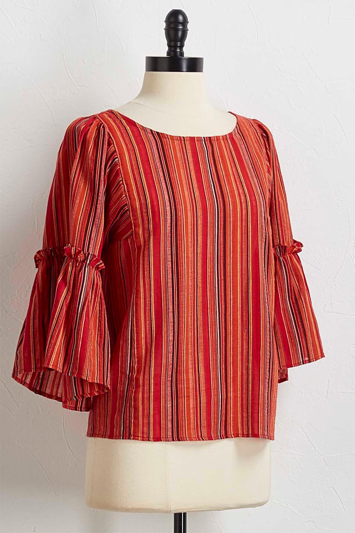 Red Multi Stripe Top