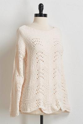 scalloped chenille sweater
