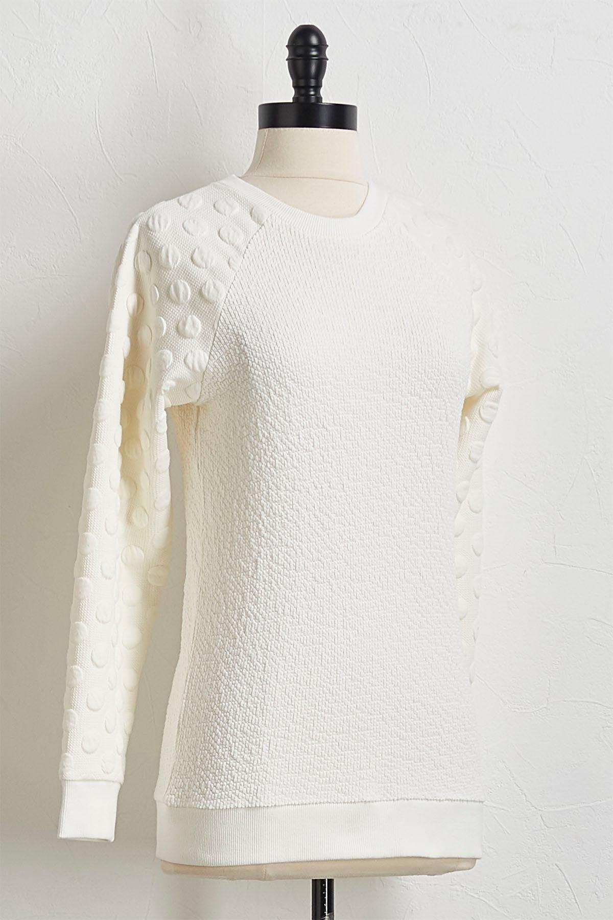Hacci Dotted Sleeve Sweatshirt