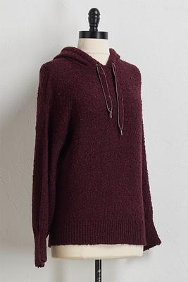 wine ribbon hooded sweater