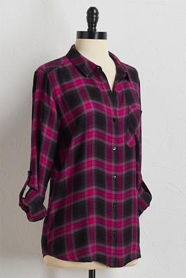 magenta plaid boyfriend shirt