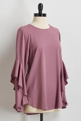 ruffle sleeve scoop neck top