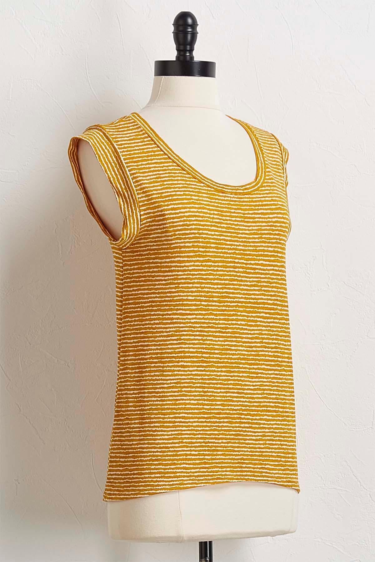 Golden Stripe Cap Sleeve Top