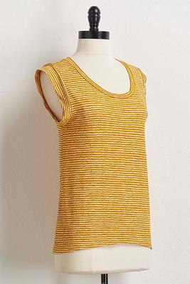 golden stripe cap sleeve top