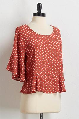 dotted flounced sleeve top