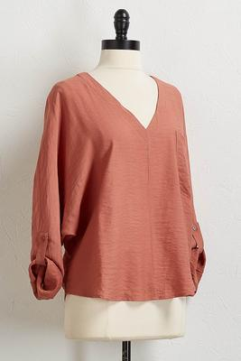 rust high-low pullover top