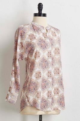 natural medallion pullover top