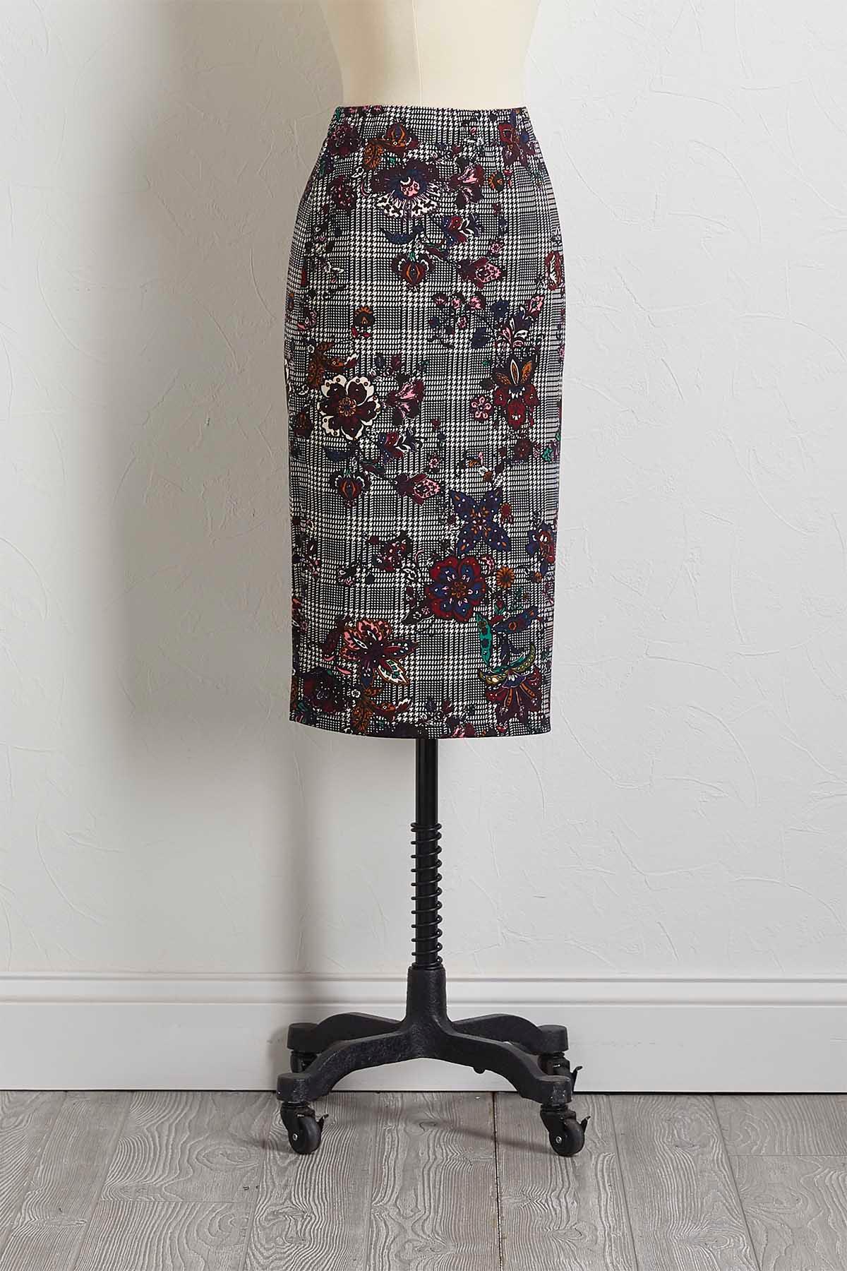Floral Houndstooth Pencil Skirt